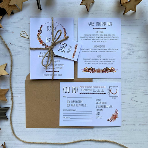 Autumn Boho Wedding Invitations - White