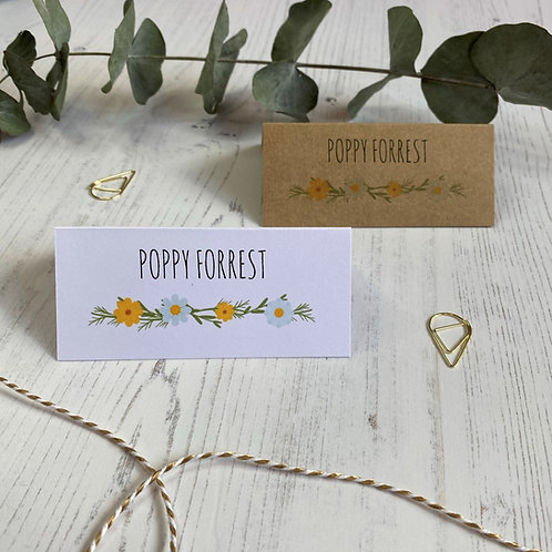 Daisy Wildflower Place Name Cards