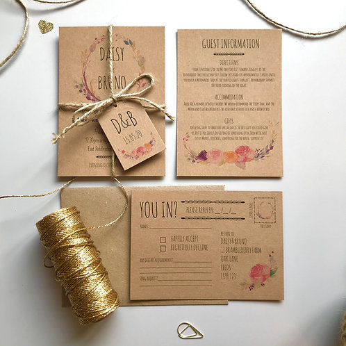 Boho Flower Wedding Invitations - Kraft