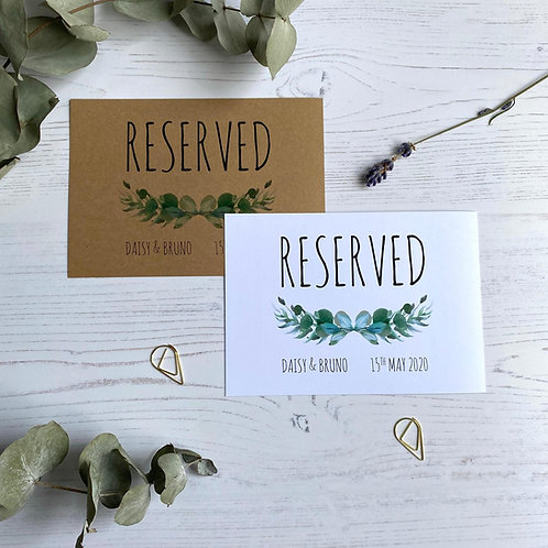 Eucalyptus Reserved Sign