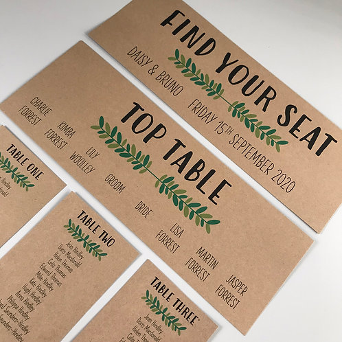Foliage Individual Table Plan Cards - Kraft