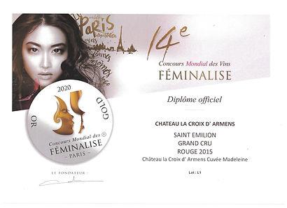 Médaille_d'Or_Feminalise_2020_Madeleine