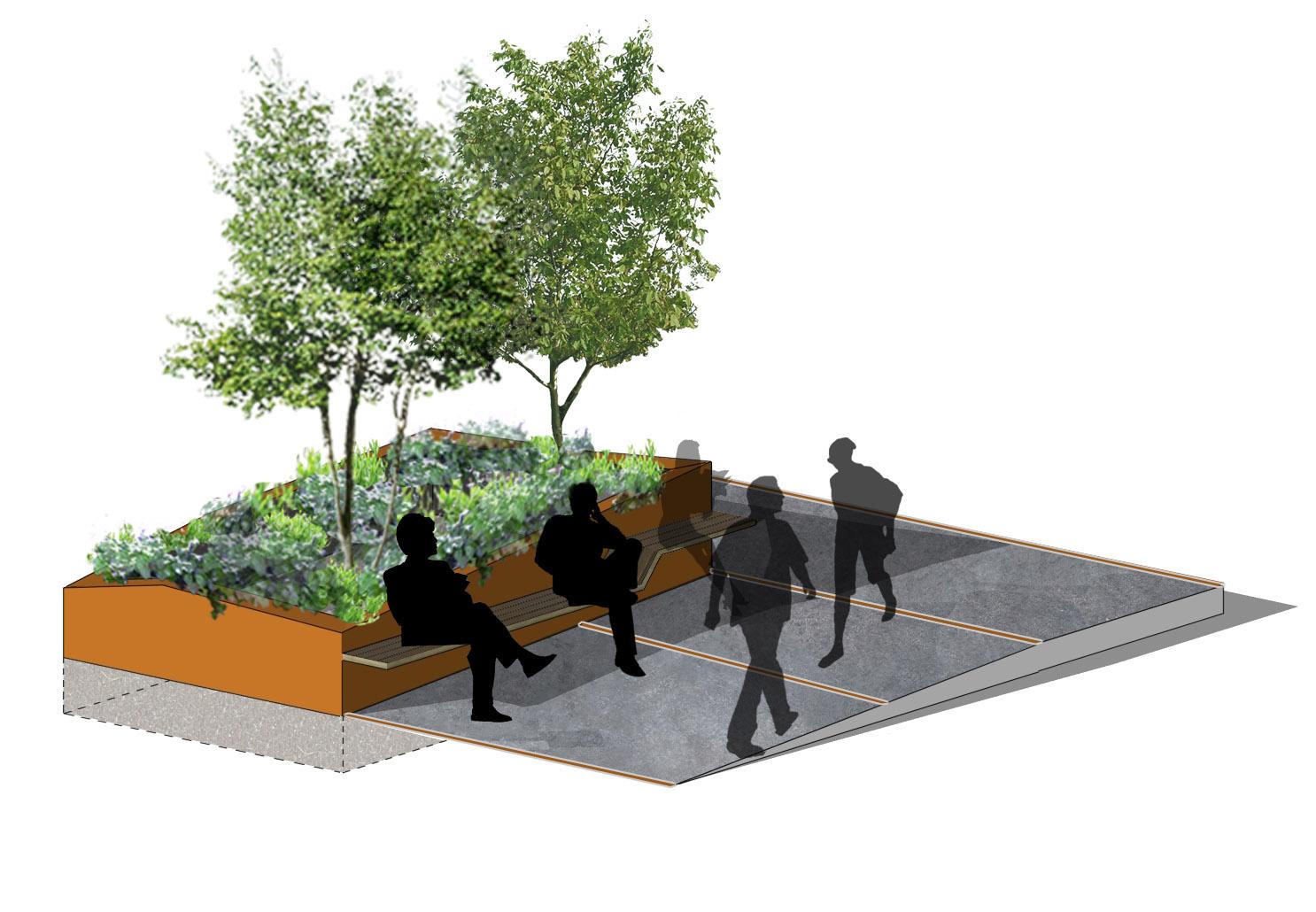 création jardinière-banc