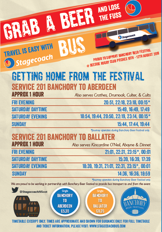 stagecoach bus banchory beer festival