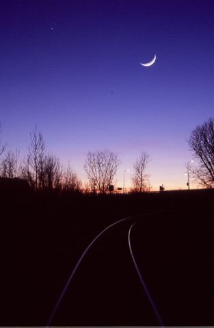 Tracks at night