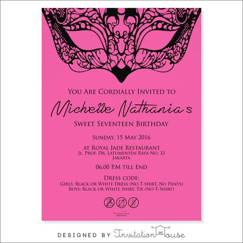 Shop birthday invitation card black and pink mask 037 stopboris Gallery