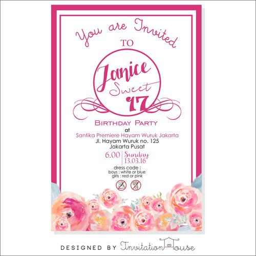Shop birthday invitation card watercolor pink flowers 029 stopboris Gallery