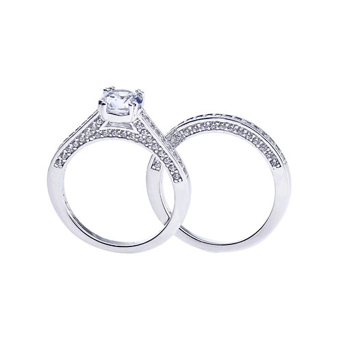sterling silver pave and round cz ring