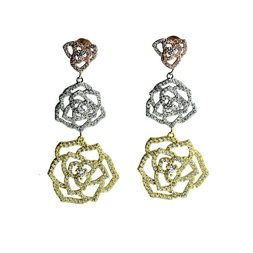 tri-color drop rose earring