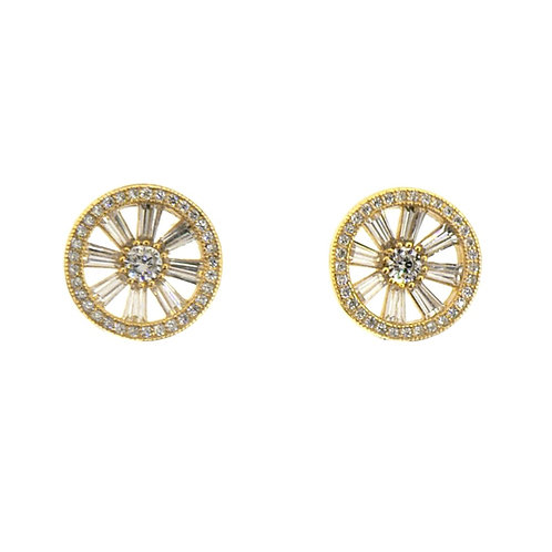 baguette round stud earring