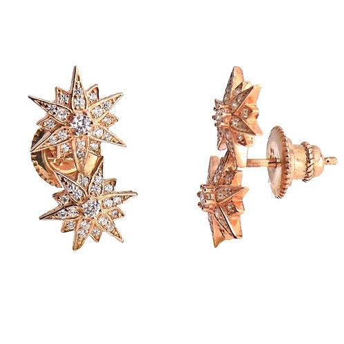 rose gold starburst earring