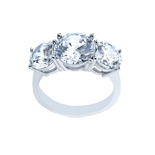 sterling silver round brilliant three stone ring