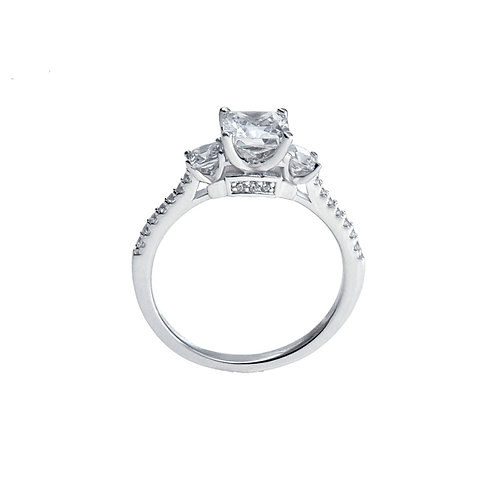 sterling silver cushion -cut cz 3-stone ring