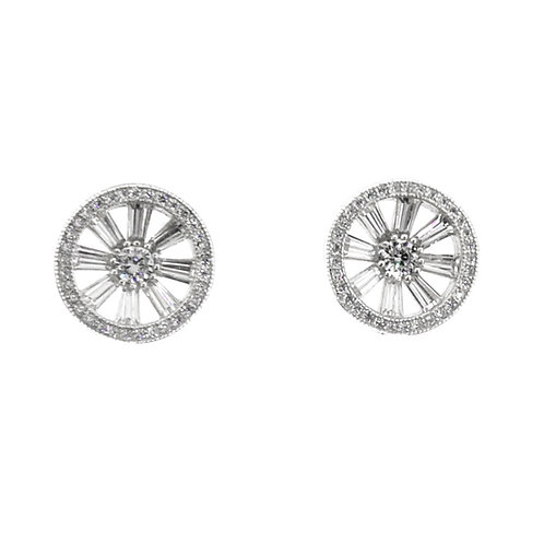 sterling silver baguette round stud earring