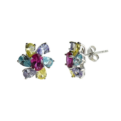 multi color cz earring