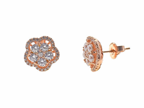 rose gold pave stud flower earring