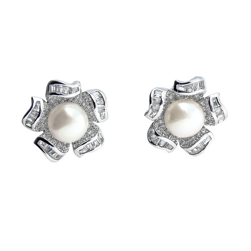 pave flower pearl earring