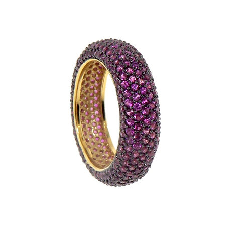 pave pink sapphire color cz ring