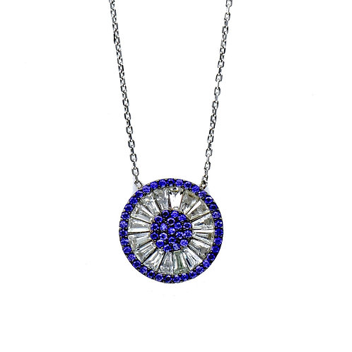 sterling silver baguette round pendant