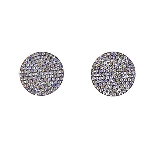 micro pave round stud earring