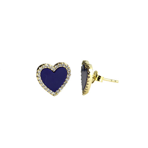 lapis heart earring