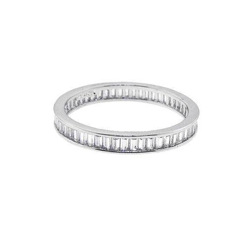 sterling silver baguette channel eternity ring