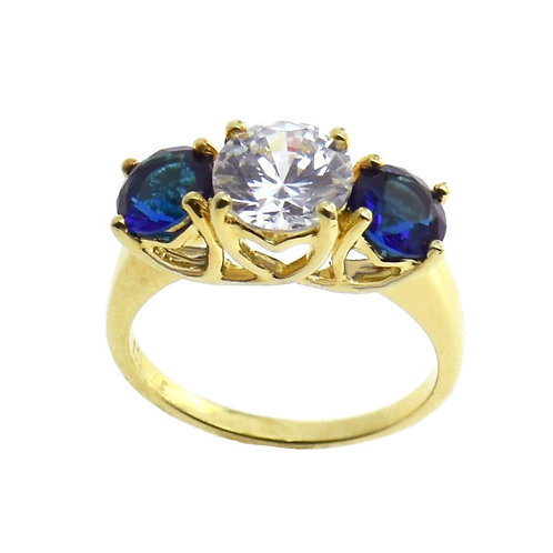 round brilliant three stone ring
