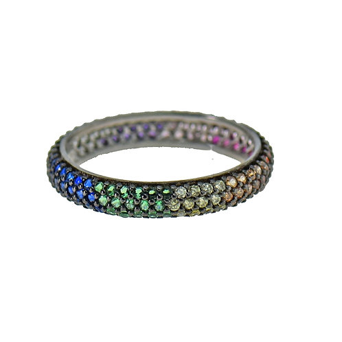 pave multi color ring