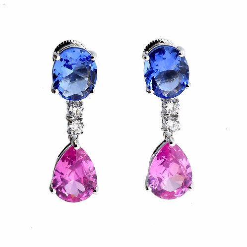 pink dangle teardrop earring