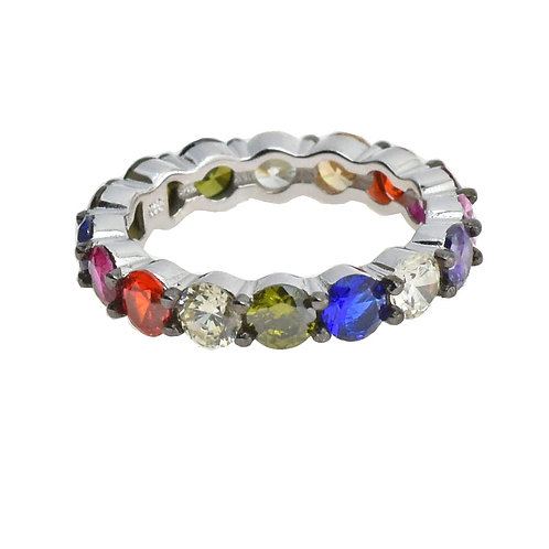 multi color eternity band ring