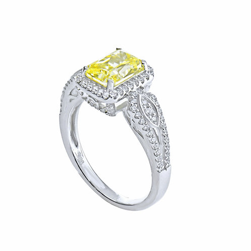 cushion-cut fancy yellow ring