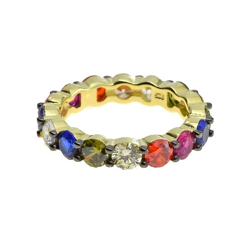 multi color cz eternity band ring