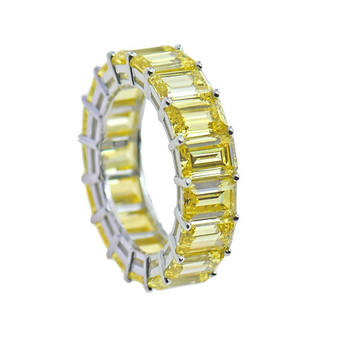 fancy yellow eternity band ring