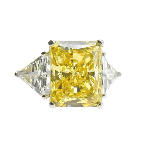 sterling silver cushion-cut fancy yellow ring