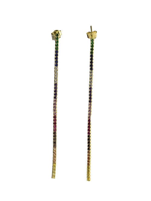 multi color tennis drop earring