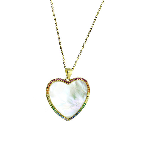 Mother-of-pearl heart pendantnecklace