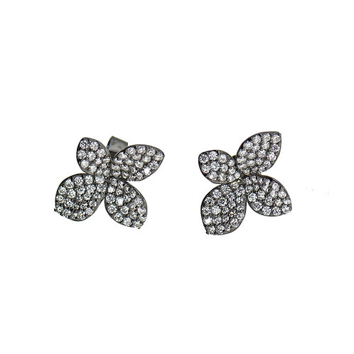 pave flower earring