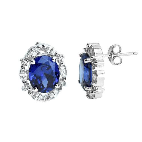 blue sapphire color cz earring