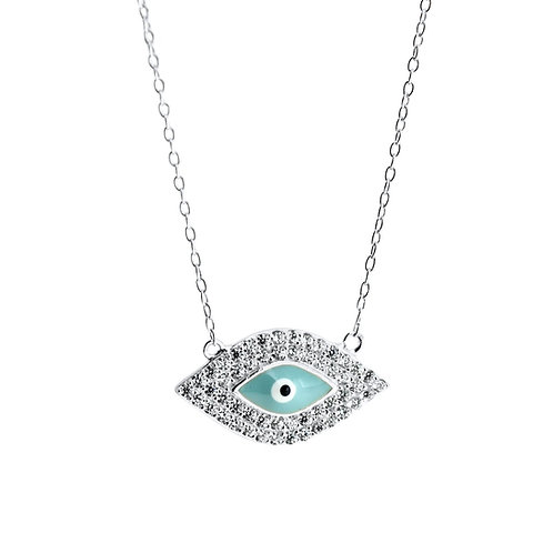 sterling silver pave evil eye necklace