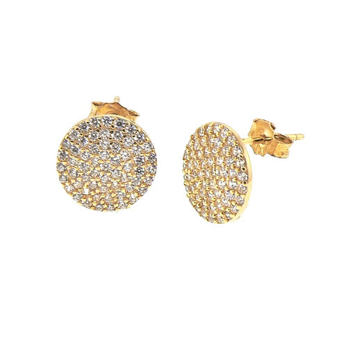 pave round stud earring