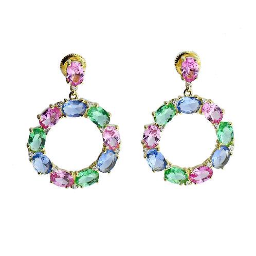 multi color drop earring