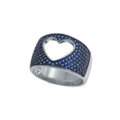 pave cz open heart ring