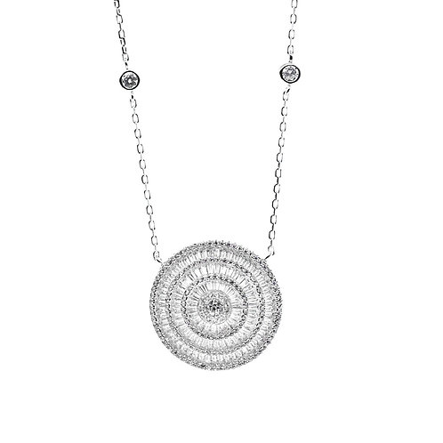sterling silver baguette round pendant necklace