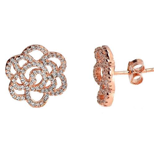 camellia open flower earring
