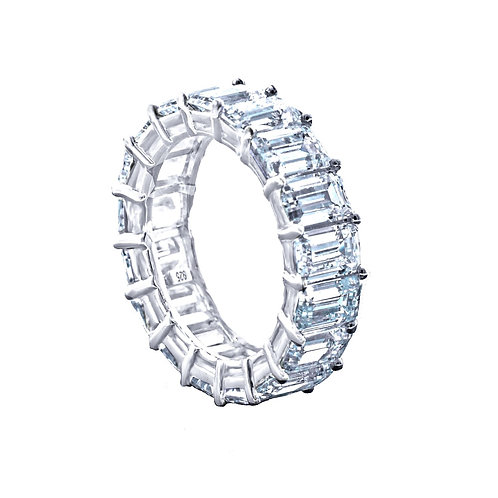 sterling silver emerald cut eternity band ring