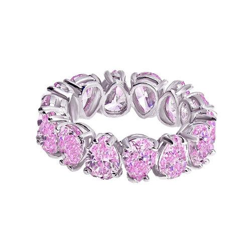pink pear shaped wedding band ring