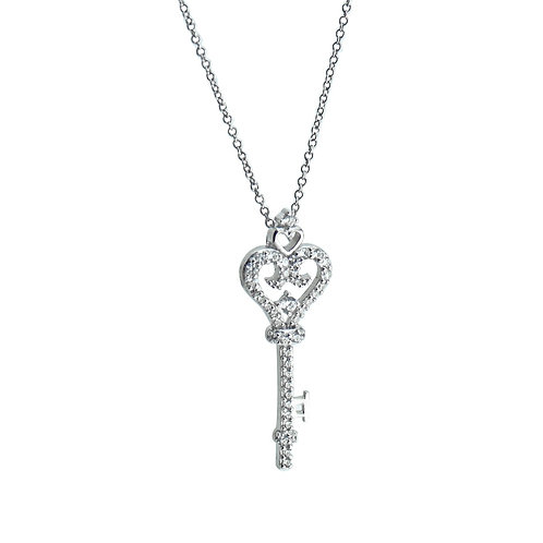 pave key pendant necklace