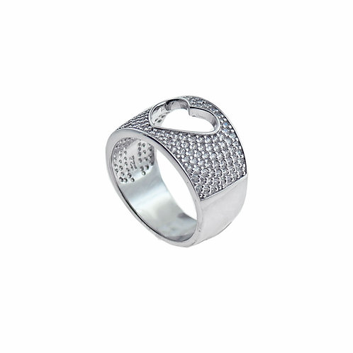 pave open heart ring