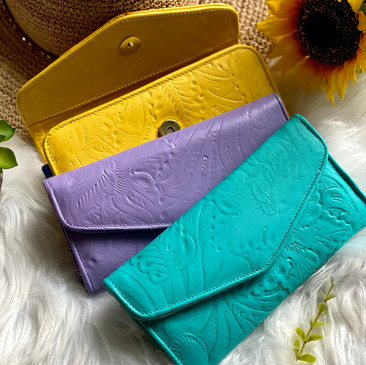 Colorful leather wallets