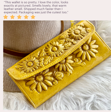 SUNFLOWERS LEATHER WALLETS FOR WOMEN • GIFTS FOR HER • BOHO WALLET